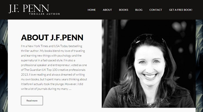Joanna Penn's fiction website, jfpenn.com, is a great, professional-looking site.